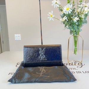 Yves Saint Laurent Black Patent Leather Clutch